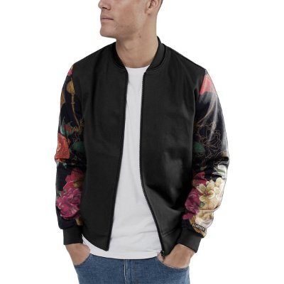 Jaqueta Bomber Chess Clothing Manga Skulls Flowers Preto