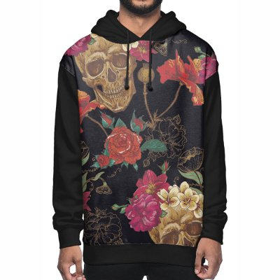 Moletom Chess Clothing Skulls Flowers Preto