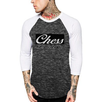 Raglan Manga 3/4 Chess Clothing Logo Cinza