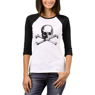 Raglan Manga 3/4 Chess Clothing Skull Branco