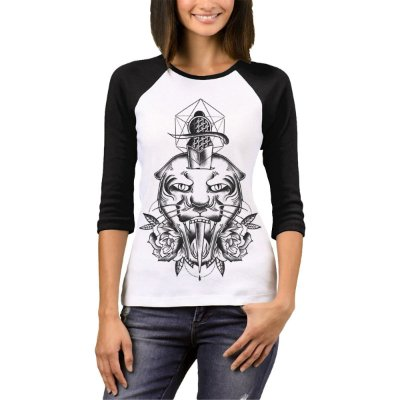 Raglan Manga 3/4 Chess Clothing Tiger Branco