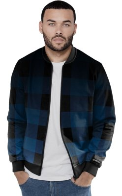 Jaqueta Bomber Chess Clothing Xadrez Azul Gradiente