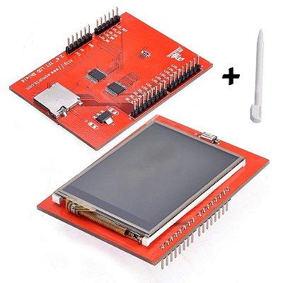 "Display LCD TFT 2.4"" Touchscreen Shield para Arduino + Caneta"