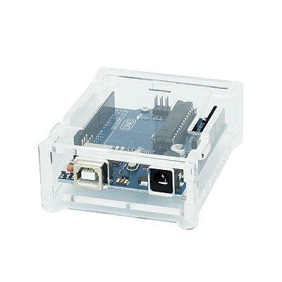 Case Flip para Arduino Uno R3 em Acrilico Transparente