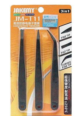 Kit com 3 Pinças Anti Estática para Celular JM-T11 - Jakemy