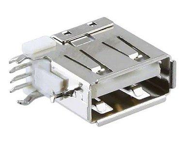 Conector USB Fêmea 90º com Trava Vertical