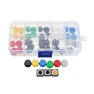 Kit Push Buttons com Capas Coloridas 50x unidades