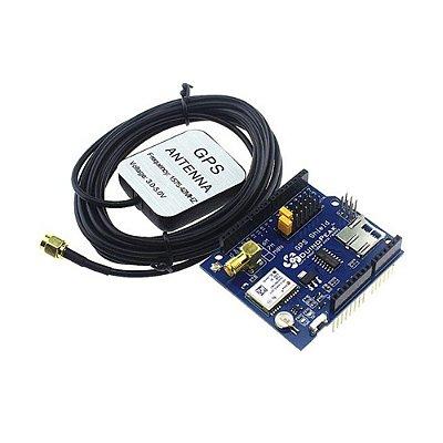 Shield GPS com Slot MicroSD para Arduino + Antena