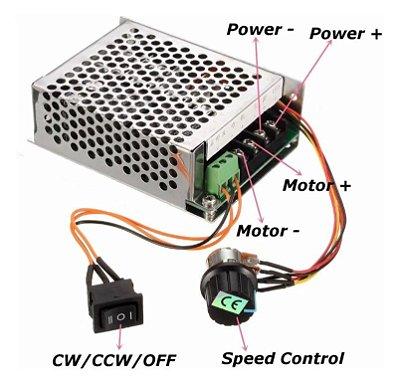 Controlador de Velocidade 10-50V 40A 2000W PWM com Chave Reversão
