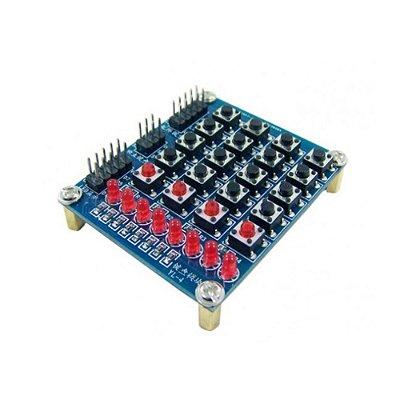 Teclado Matricial 4x4 + 4 + 8 LEDs com Chave Táctil