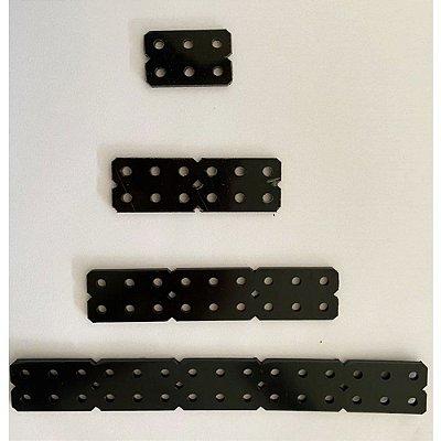 """Conjunto de 4 Placas 3mm """"Duplo"""" em Termoplástico Preto - Modelix"""
