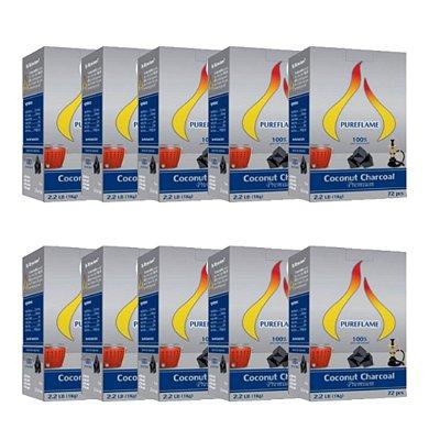 Carvão de Coco Premium (em cubos ou hexagonal) - Combo 10 kg - Especial para Churrasqueiras Compactas