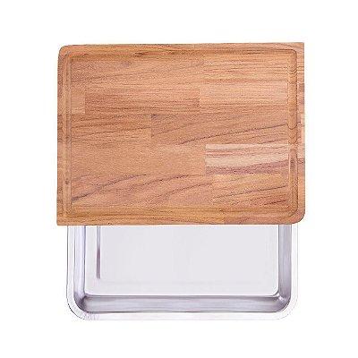 Tábua madeira Teca Churrasco Retangular Grande Com Bandeja - Fiss Koss