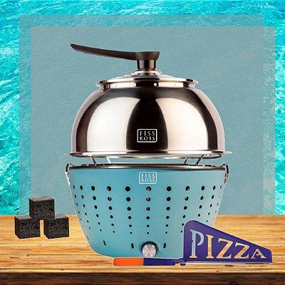 Churrasqueira Portátil Ocean (azul) + Tampa em inox + 1Kg de carvão + Tesoura de pizza - Combo de férias