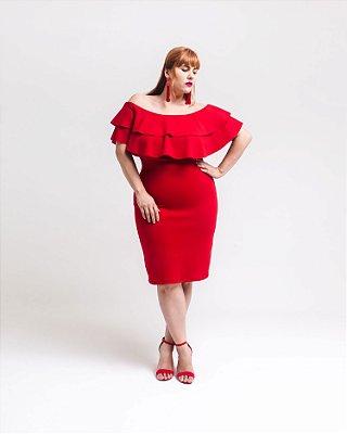 Vestido Plus Size Ombro a Ombro Com Babados - Vermelho