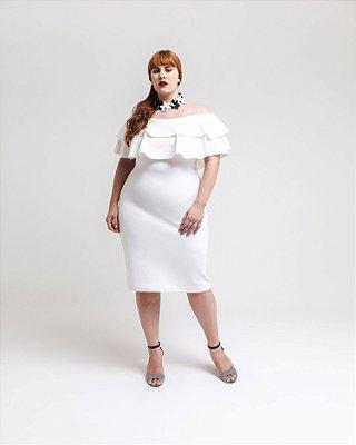 Vestido Plus Size Ombro a Ombro com Babados