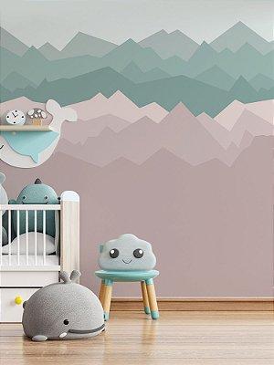 Painel papel de parede adesivo infantil montanhas rose