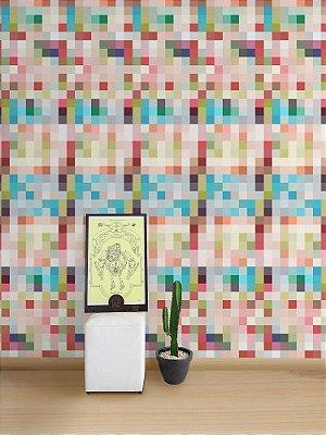Papel de Parede Adesivo Pixel Colorido