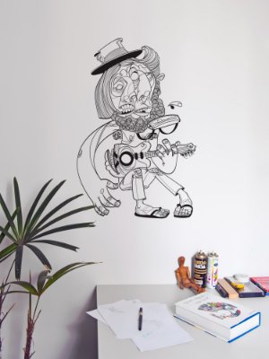 Adesivo de parede Arte Cantaroleiro