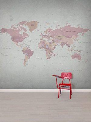 Mural papel de parede adesivo Mapa Rosé