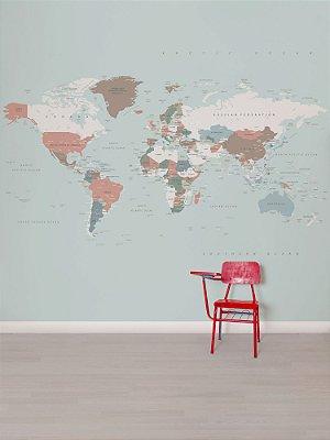 Mural papel de parede adesivo Mapa Color