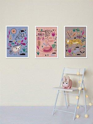 Kit com 3 Posters A3 Fauna