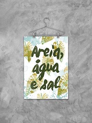 Poster areia, água e sal