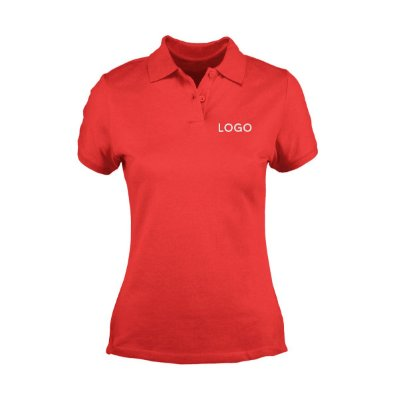 Camiseta Polo Piquet Baby Look Bordada com Logotipo