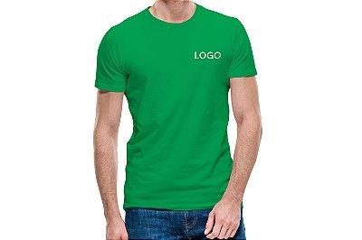 Camiseta 100% algodão fio 30.1 penteada Bordada com Logotipo Uniformes SP