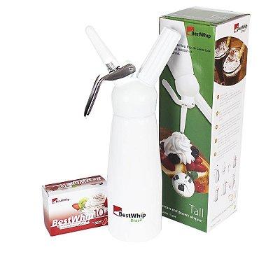 Sifão Branco Garrafa de Chantilly 500 ml GÁS BESTWHIP + Capsula de gás