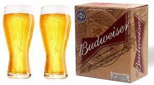 Kit 20 Cxs de  Copo para Cerveja Budweiser 400 ml - Vidro Temperado - Caixa com 2 peças