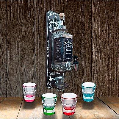 Kit Pingômetro Artesanal Jack Daniels + 4 Copos Shot 36 Ml