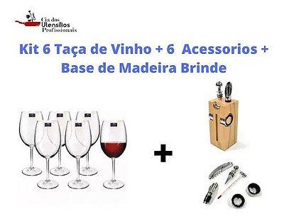 Kit 6 Taças De Vinho Bohemia + 6 Acessórios+base De Madeira