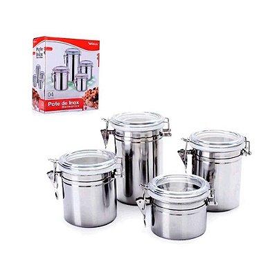 Conjunto de Potes Herméticos Welolmix Inox 04 Peças WX3883