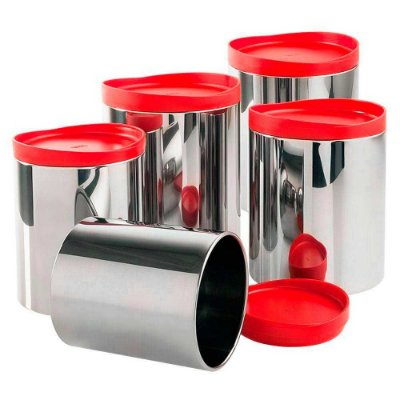 Conjunto de Potes Brinox para Mantimentos 3 Peças Vermelho 2117/150