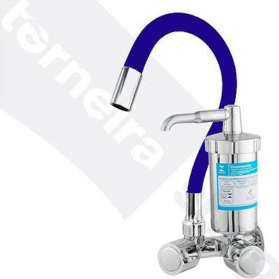 Torneira Filtro Gourmet Color Azul Parede 1/4 Volta Bica Flexível C40