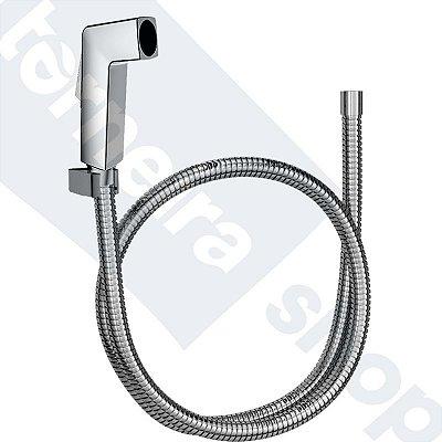 Kit Ducha Higiênica Quadrada C/ Mangueira Flexível 120 Cm E Suporte (Sem registro)