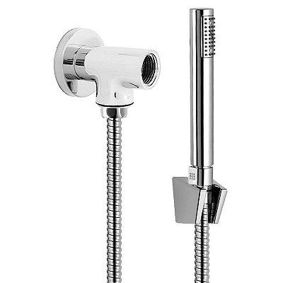 Kit Desviador Redondo Metal C/ Flexível de 180 CM Aço Inox Ducha Manual e Suporte ABS