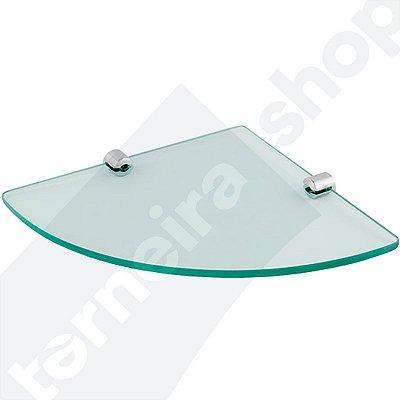 Prateleira de Vidro Temperado 8 mm Para Cantos de Parede 23 x 32 cm Kit Fixação Aço Inox