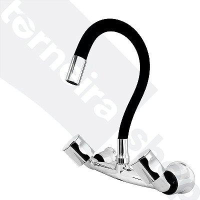 Misturador P/ Cozinha de Parede Gourmet Preto Flexível 1/4 de Volta C35