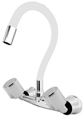 Misturador P/ Cozinha de Parede Gourmet Branco Flexível 1/4 de Volta C40