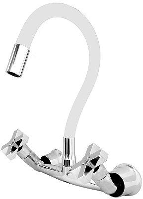 Misturador P/ Cozinha de Parede Gourmet Branco Flexível 1/4 de Volta C44