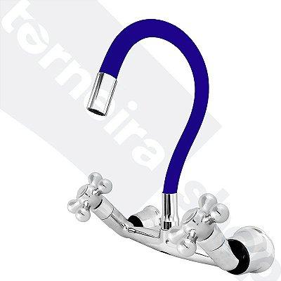 Misturador P/ Cozinha de Parede Gourmet Azul Flexível 1/4 de Volta C52