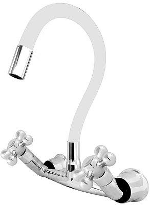 Misturador P/ Cozinha de Parede Gourmet Branco Flexível 1/4 de Volta C52