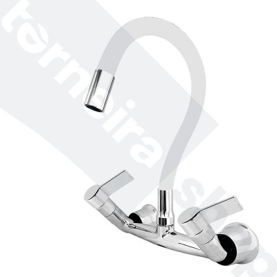 Misturador P/ Cozinha de Parede Gourmet Branco Flexível 1/4 de Volta C77