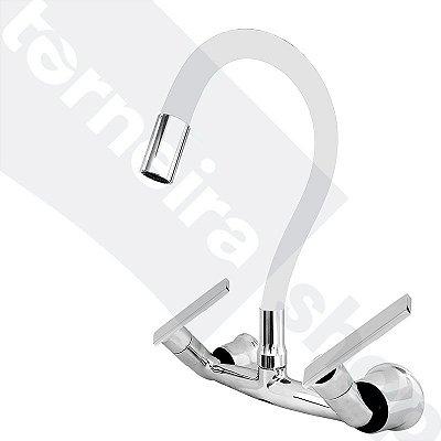 Misturador P/ Cozinha de Parede Gourmet Branco Flexível 1/4 de Volta C79