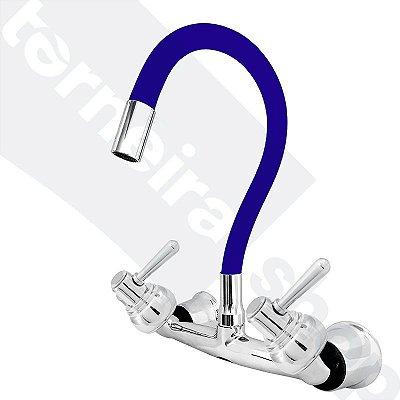 Misturador P/ Cozinha de Parede Gourmet Azul Flexível 1/4 de Volta C80