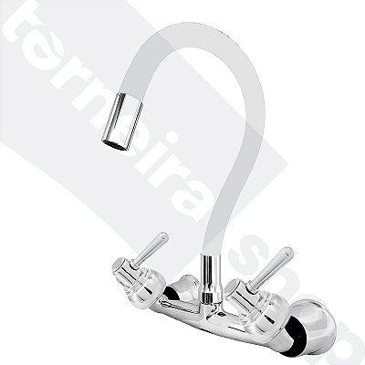 Misturador P/ Cozinha de Parede Gourmet Branco Flexível 1/4 de Volta C80