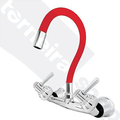 Misturador P/ Cozinha de Parede Gourmet Vermelho Flexível 1/4 de Volta C80