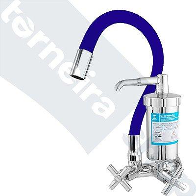 Torneira Filtro Gourmet Color Azul Parede 1/4 Volta Bica Flexível C64